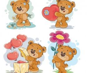 Cartoon teddy bears head drawing vector 01