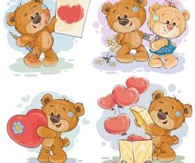 Cartoon teddy bears head drawing vector 02