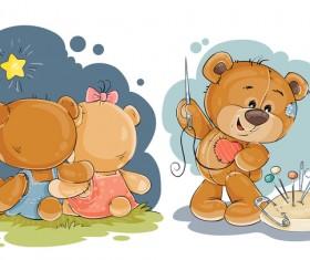 Cartoon teddy bears head drawing vector 03