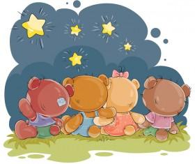 Cartoon teddy bears head drawing vector 05