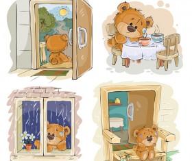 Cartoon teddy bears head drawing vector 07
