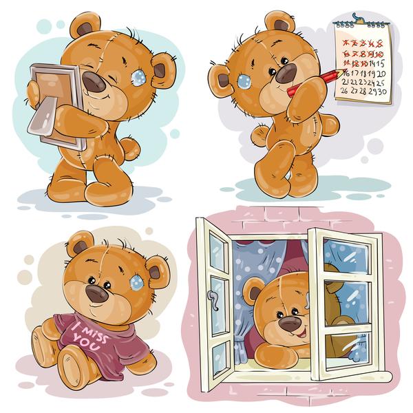Cartoon teddy bears head drawing vector 08