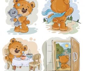 Cartoon teddy bears head drawing vector 09