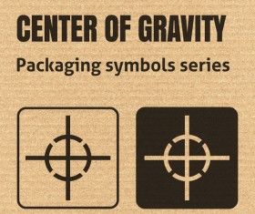 Center of gravity packaging icons series vector