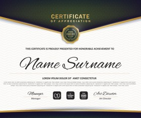 Certificate with diploma template luxury vector material 01