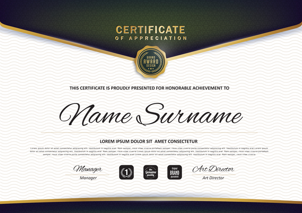 certificate with diploma template luxury vector material 01 free