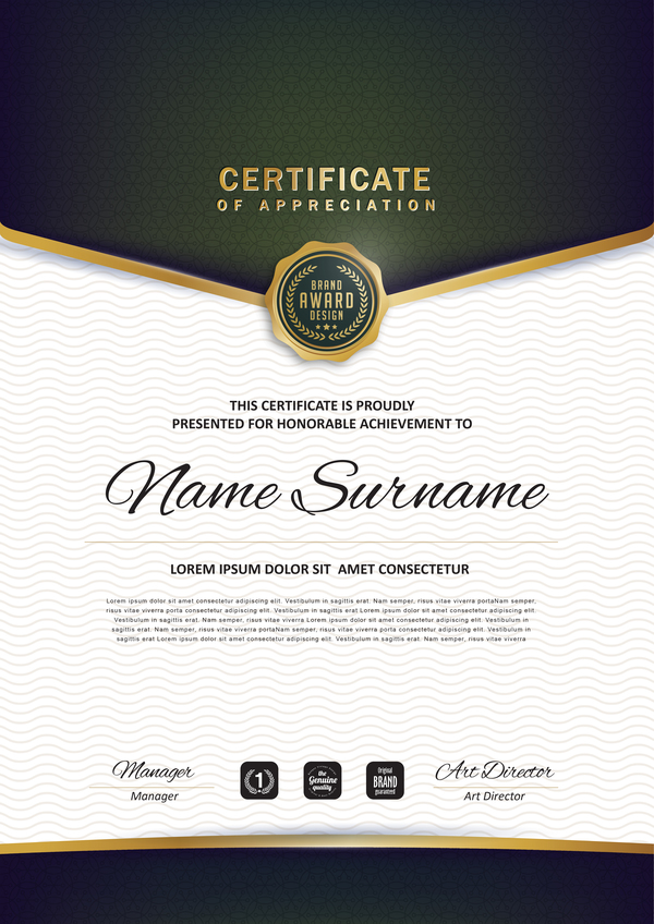 Certificate with diploma template luxury vector material 02