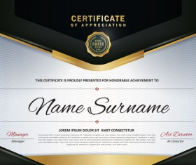 Certificate with diploma template luxury vector material 03