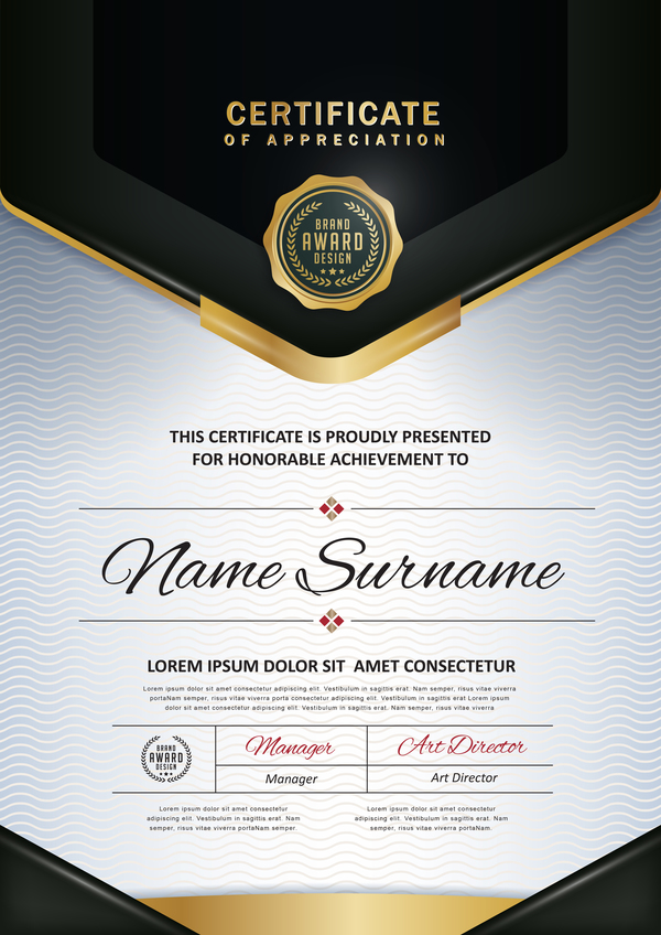 Certificate with diploma template luxury vector material 04