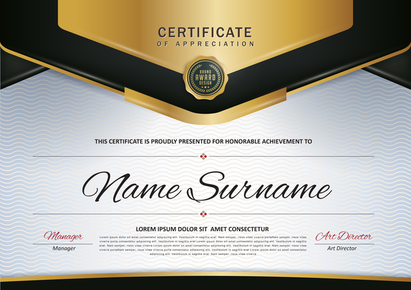 Certificate with diploma template luxury vector material 05