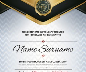 Certificate with diploma template luxury vector material 06