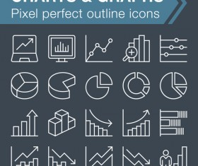 Charts with graphs icons set