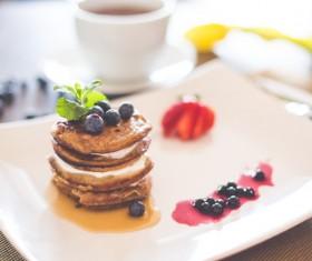 Cheese Blueberry Pancakes Stock Photo