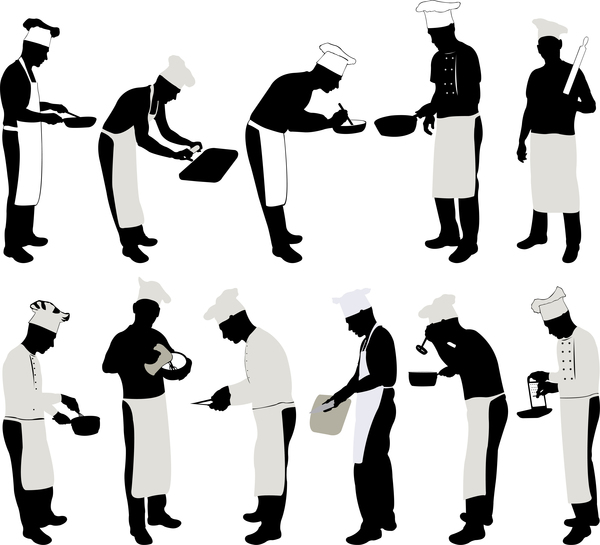 Chef silhouette vector set - Vector People, Vector ...