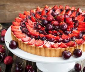 Cherry Strawberry Cake Stock Photo