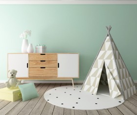 Children's small tent inside the bedroom Stock Photo