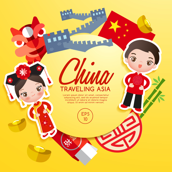 china travel cartoon template vector free download