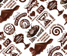 Chocolate logos vector seamless pattern