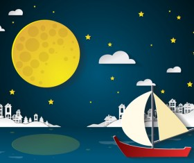 City nightime and moon cartoon vector