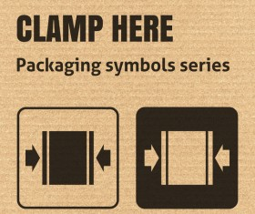 Clamp here packaging icons series vector