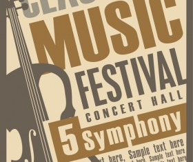 Classical music retro concert poster template 01