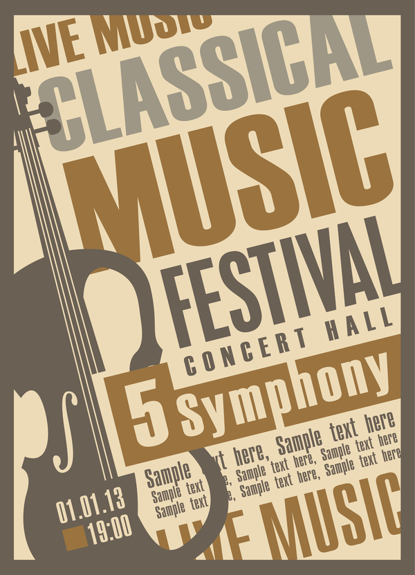 Classical music retro concert poster template 01 - Vector Cover ...