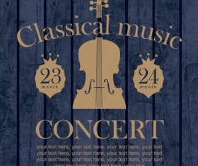 Classical music retro concert poster template 03
