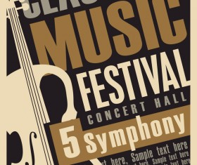 Classical music retro concert poster template 04