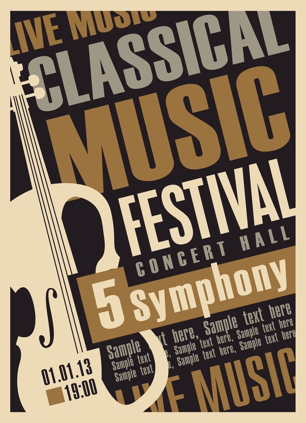 classical music retro concert poster template 04 vector cover