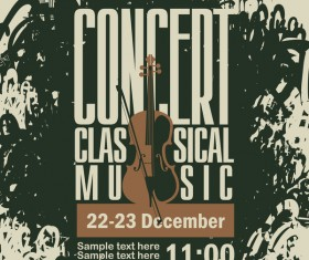 Classical music retro concert poster template 05