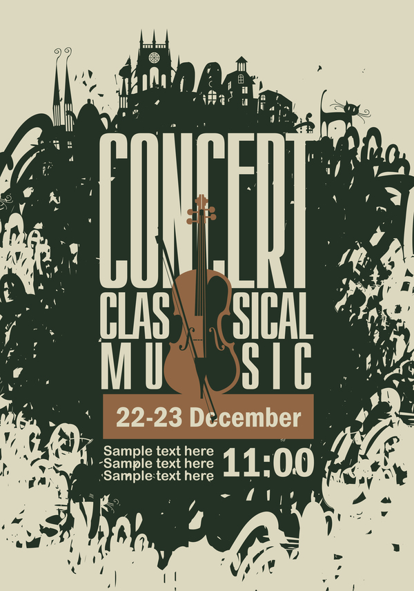 classical music retro concert poster template 05 vector cover