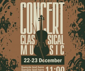 Classical music retro concert poster template 06