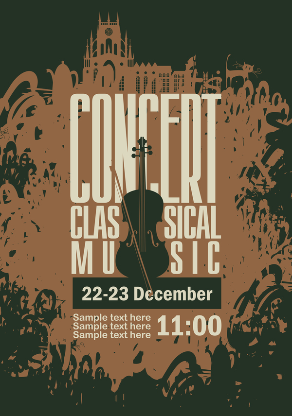 classical music retro concert poster template 06 vector cover