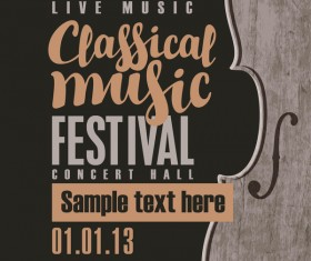 Classical music retro concert poster template 08