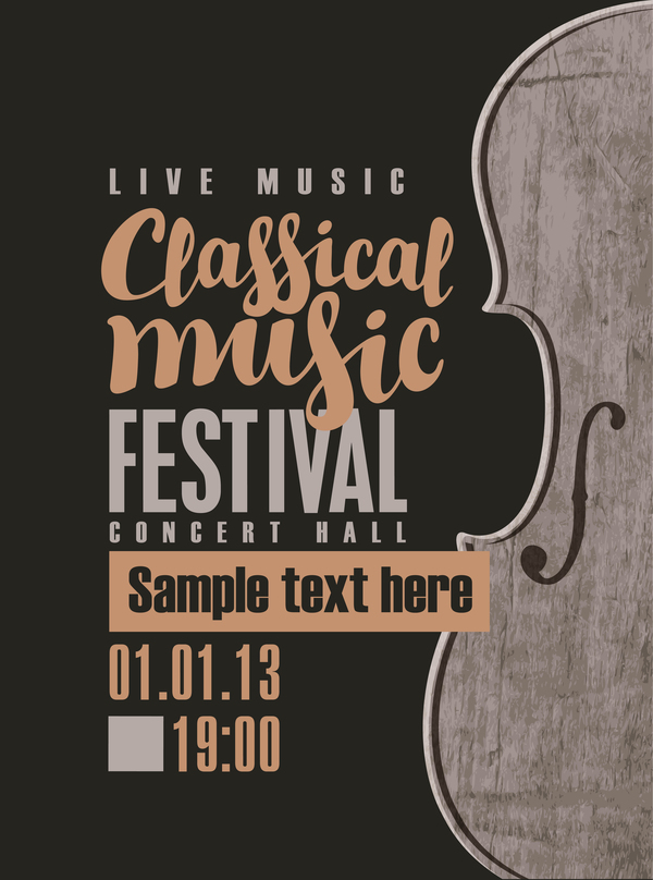 classical music retro concert poster template 08 vector cover