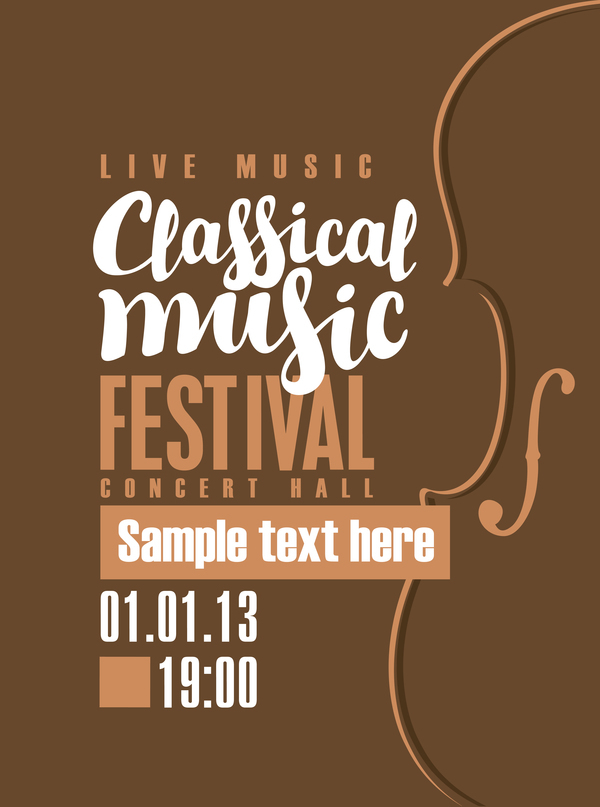 classical music retro concert poster template 09 vector cover