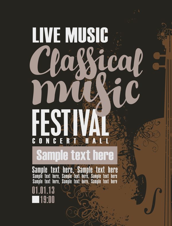Classical music retro concert poster template 11 - Vector Cover ...