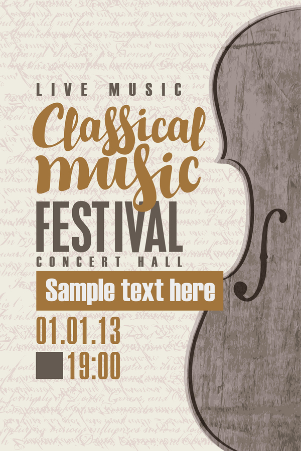 classical music retro concert poster template 12 vector cover