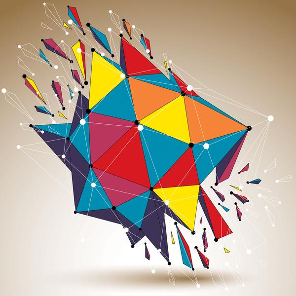 Colored geometric debris vector background 02