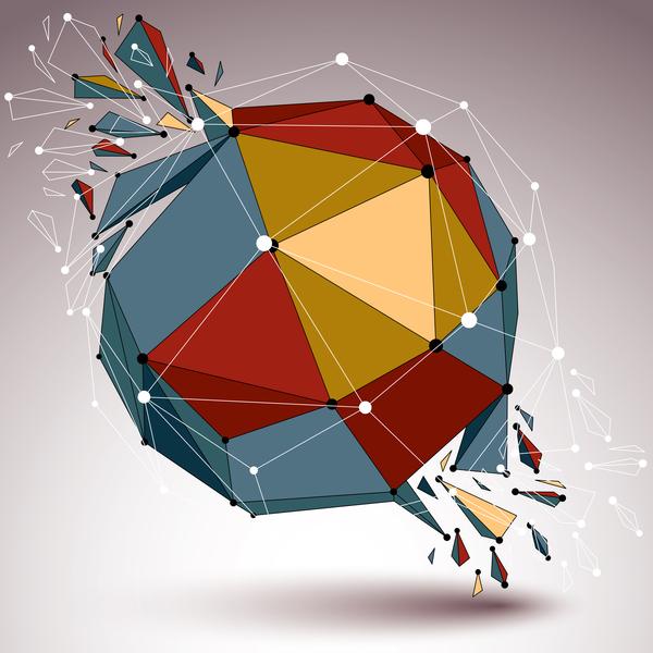 Colored geometric debris vector background 04