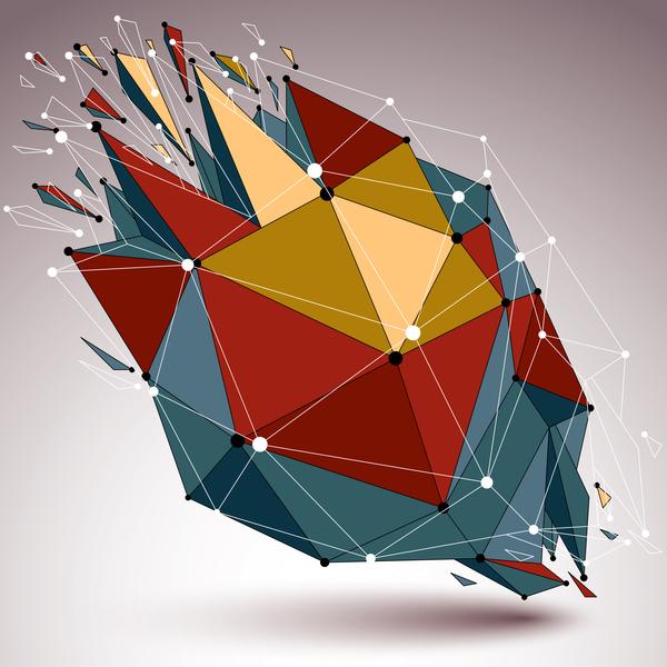 Colored geometric debris vector background 05