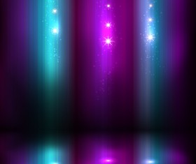 Colored light with stars shining vector background