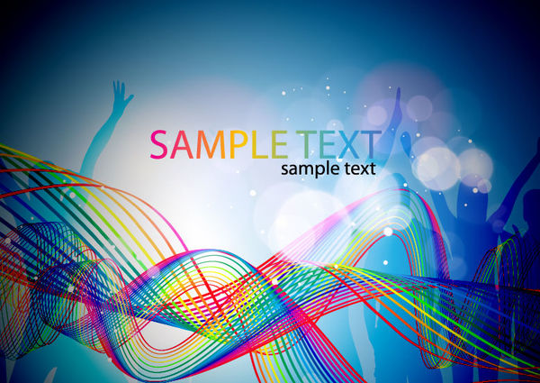 Colorful abstract wavy with party background vector free ...