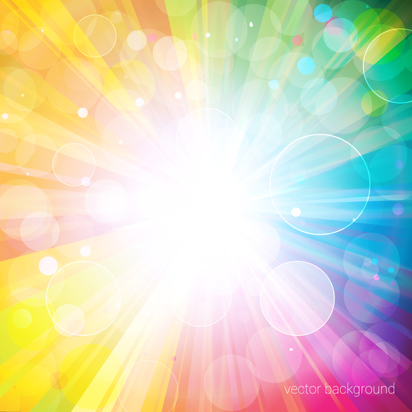 colorful bokeh background and sunlight vectors free download