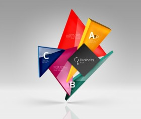 Colorful glass triangles business template vectors 02
