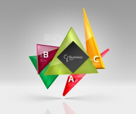 Colorful glass triangles business template vectors 03