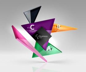 Colorful glass triangles business template vectors 04