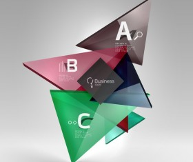 Colorful glass triangles business template vectors 05