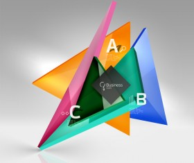 Colorful glass triangles business template vectors 07