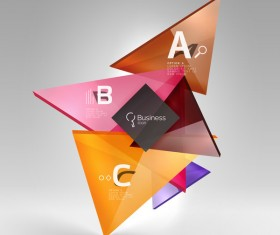 Colorful glass triangles business template vectors 08